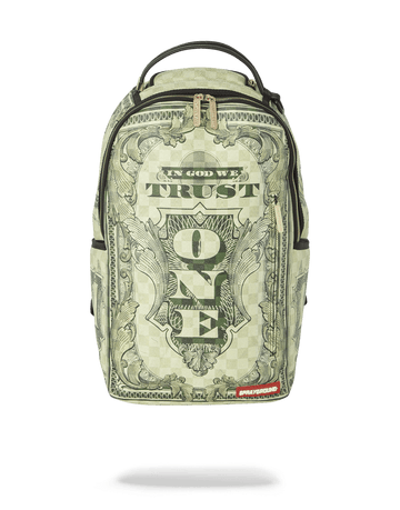 SPRAYGROUND- IN GOD WE TRUST GREEN BACKPACK (ONE OF ONE) BACKPACK
