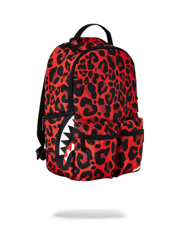 SPRAYGROUND- RED LEOPARD DOUBLE CARGO BACKPACK