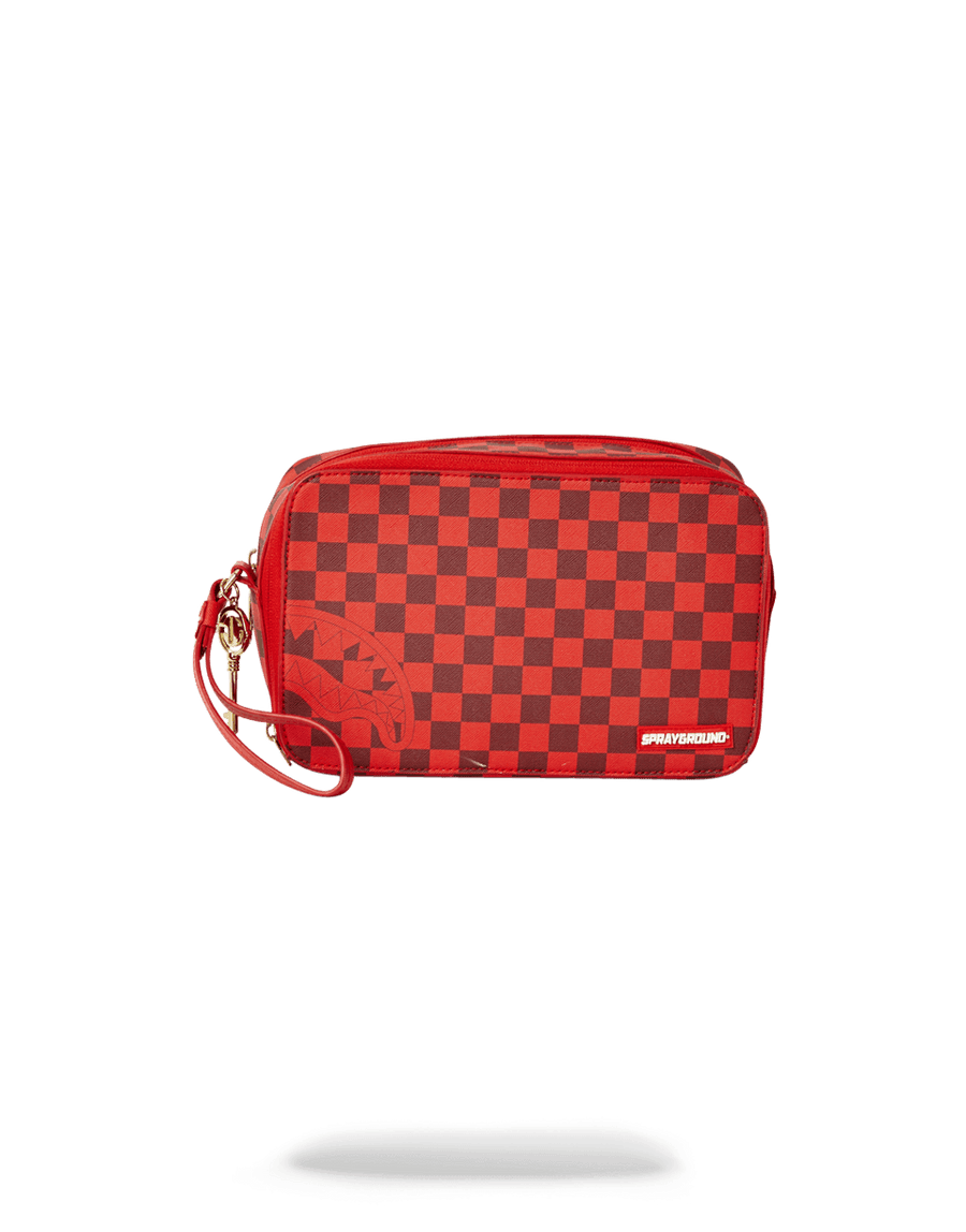 SPRAYGROUND- SHARKS IN PARIS RED TOILETRY AKA MONEY BAGS TOILETRY