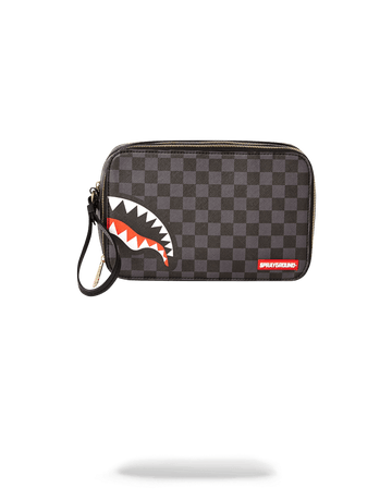 SPRAYGROUND- SHARKS IN PARIS (BLACK CHECKERED EDITION) TOILETRY AKA MONEY BAGS TOILETRY