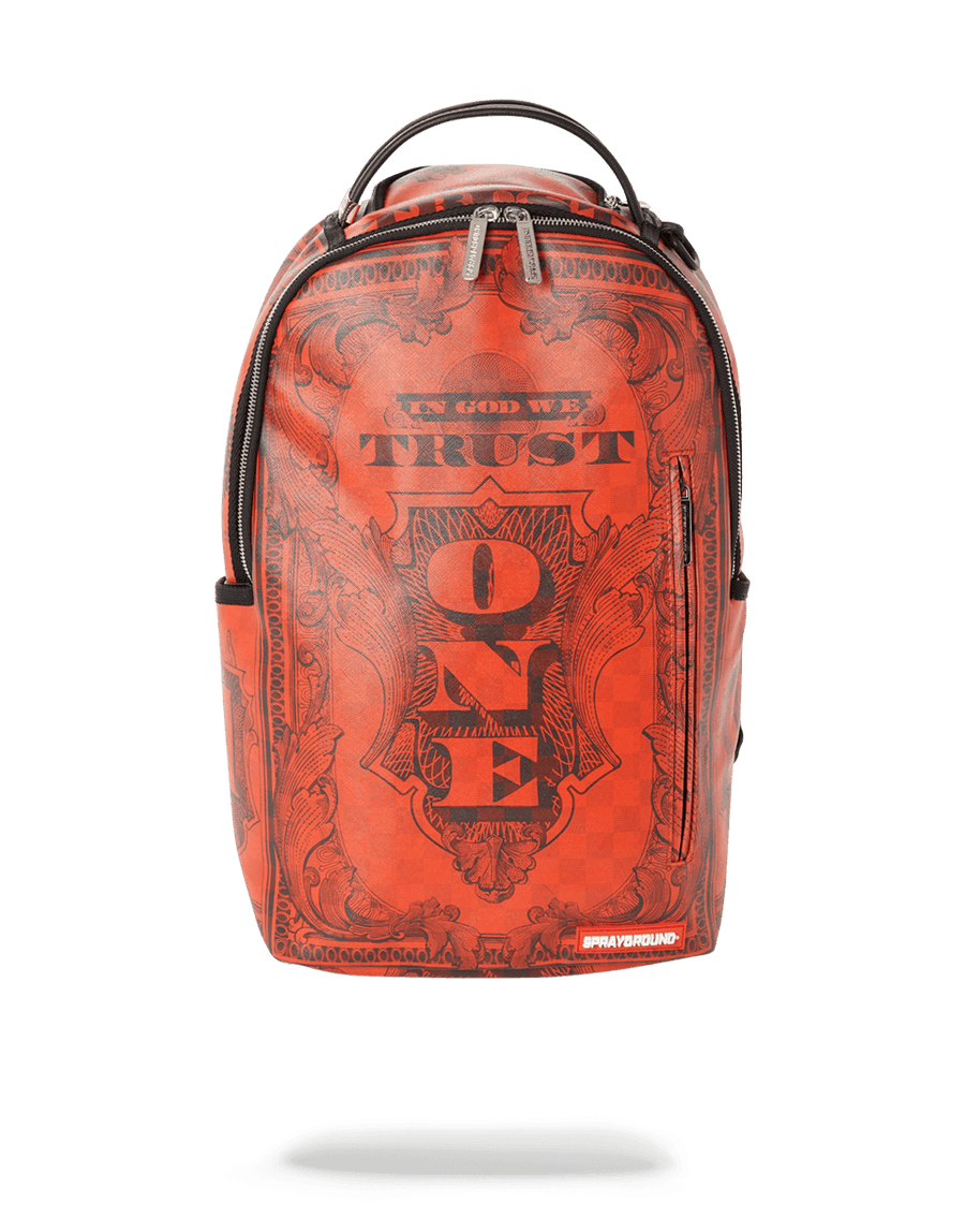 SPRAYGROUND- IN GOD WE TRUST RED BACKPACK (ONE OF ONE) BACKPACK