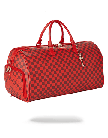 SPRAYGROUND- SHARKS IN PARIS DUFFLE (RED CHECKERED EDITION) DUFFLE