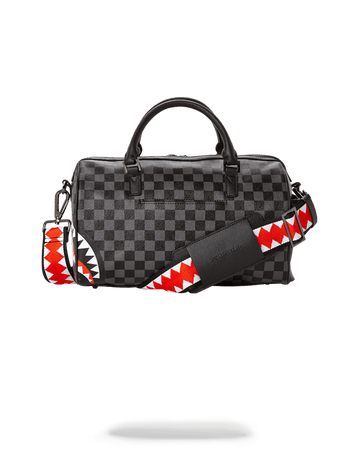 SPRAYGROUND- GREY CHECKERED SHARKS IN PARIS MINI DUFFLE DUFFLE