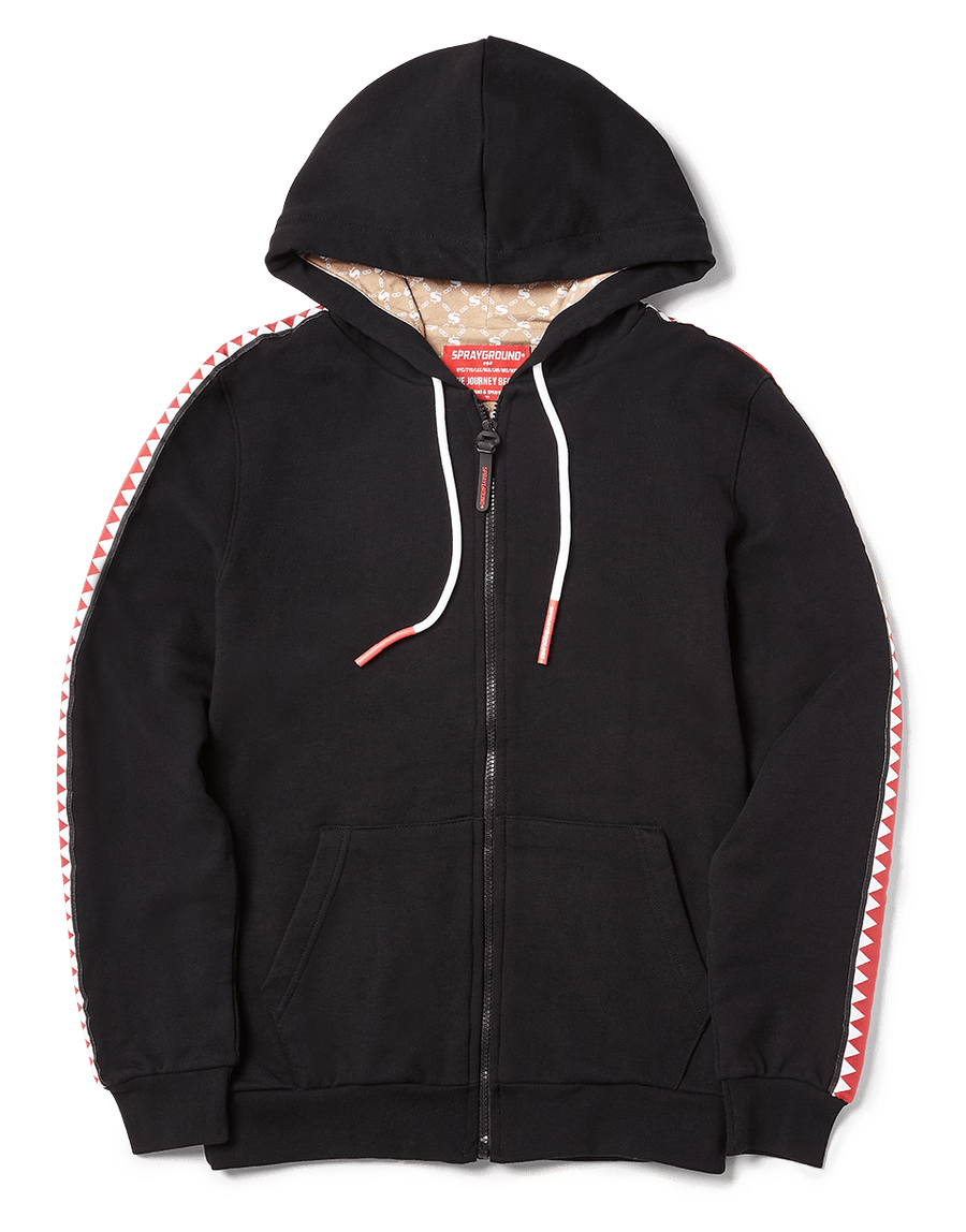 SPRAYGROUND- SHARKTRACK TIGER MONEY ZIPUP HOODIE (BLACK) APPAREL