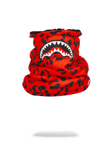 SPRAYGROUND- RED LEOPARD NECK WARMER SKI MASK