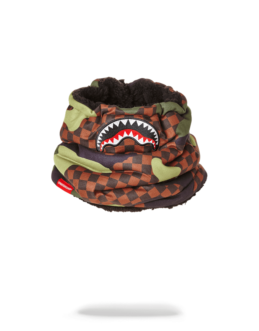 SPRAYGROUND- CHECKER CAMO NECK WARMER SKI MASK