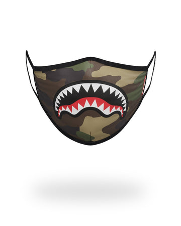 SPRAYGROUND- CAMO SHARKMOUTH FORM-FITTING MASK FASHION MASK