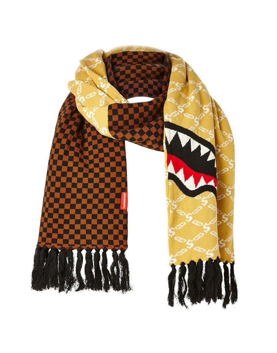 SPRAYGROUND- SPLIT CHECKERED SHARK SCARF SKI MASK