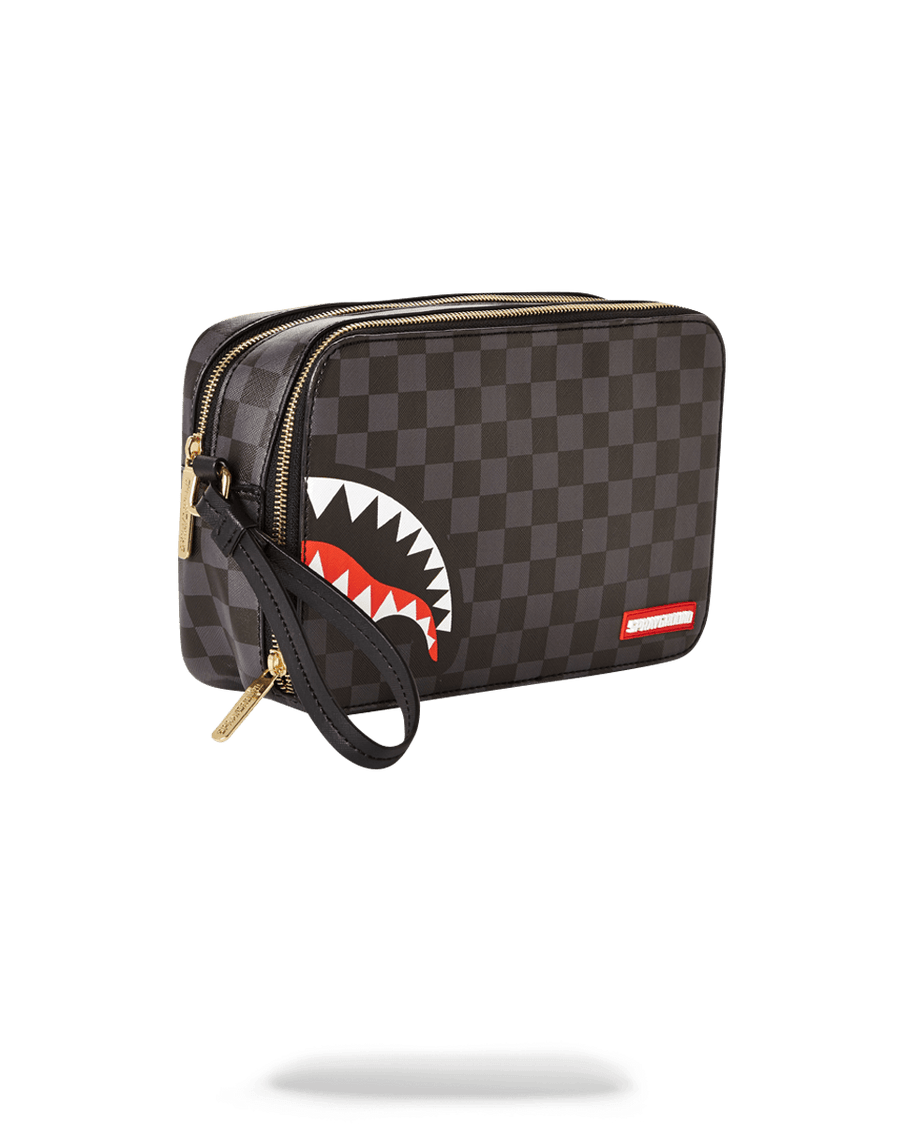 SHARKS IN PARIS (BLACK CHECKERED EDITION) TOILETRY AKA MONEY BAGS