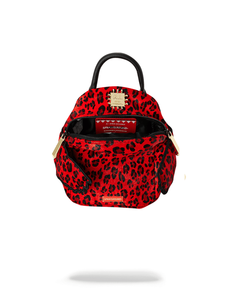 SPRAYGROUND- RED LEOPARD ANGEL (PONY HAIR) WOMENS BACKPACK