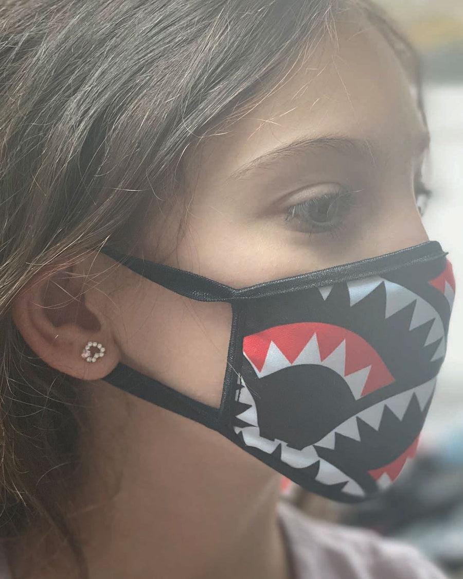 SPRAYGROUND- KIDS SHARKMOUTH PATTERN MASK (CLASSIC FIT) FASHION MASK