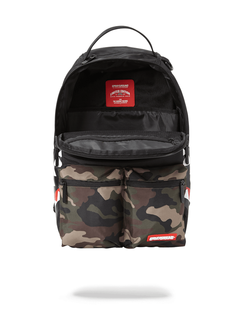 SPRAYGROUND- CAMO SIDE SHARK DOUBLE CARGO BACKPACK