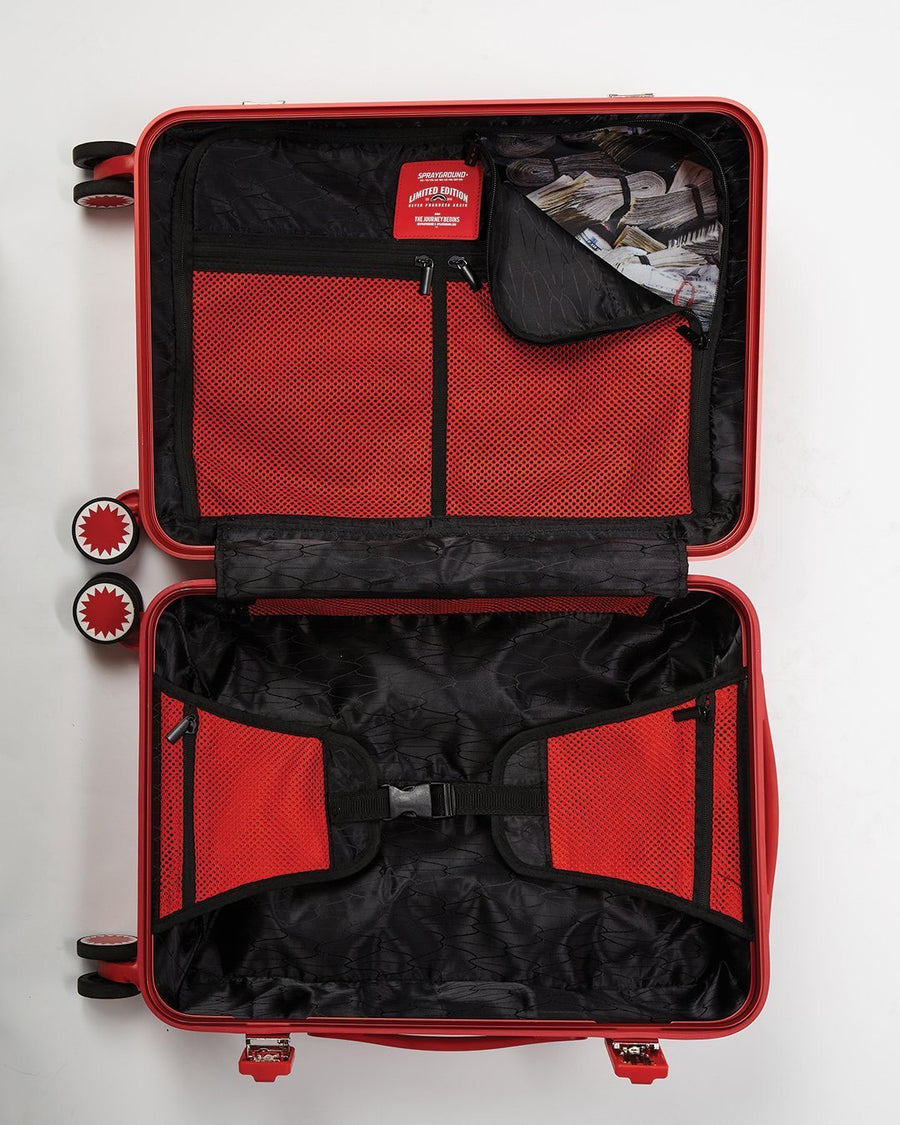 SPRAYGROUND- FULL-SIZE BLACK CARRY-ON RED LUGGAGE BUNDLE LUGGAGE