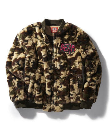 CAMO BEAR BOMBER PLUSH JACKET