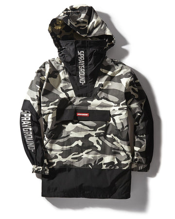 GREY & BLACK CAMO PULLOVER PUFFER JACKET