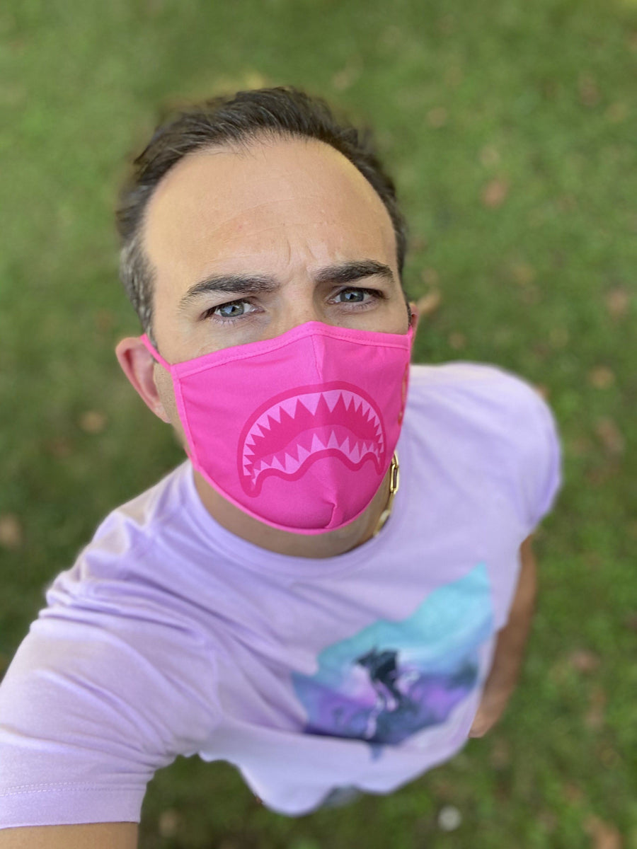 ADULT PINK SHARK FORM-FITTING FACE MASK