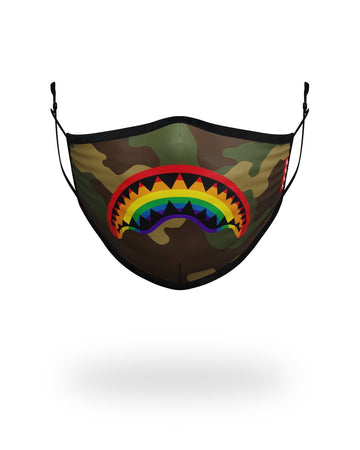 SPRAYGROUND- ADULT RAINBOW SHARK FORM FITTING FACE MASK FASHION MASK