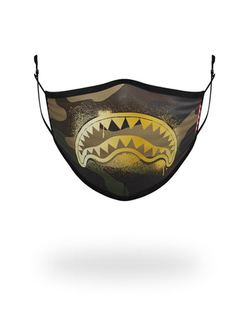 SPRAYGROUND- ADULT CAMO GOLD SHARK FORM FITTING FACE MASK FASHION MASK