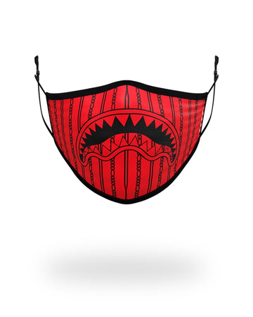 SPRAYGROUND- ADULT REVERSE SHARKS IN PARIS (RED) FORM FITTING FACE MASK FASHION MASK