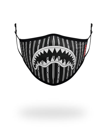 SPRAYGROUND- ADULT REVERSE SHARKS IN PARIS (BLACK) FORM FITTING FACE MASK FASHION MASK