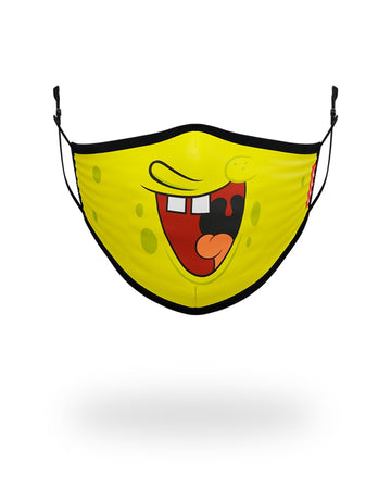 SPRAYGROUND- ADULT SPONGEBOB SMILE FORM FITTING FACE-COVERING FASHION MASK