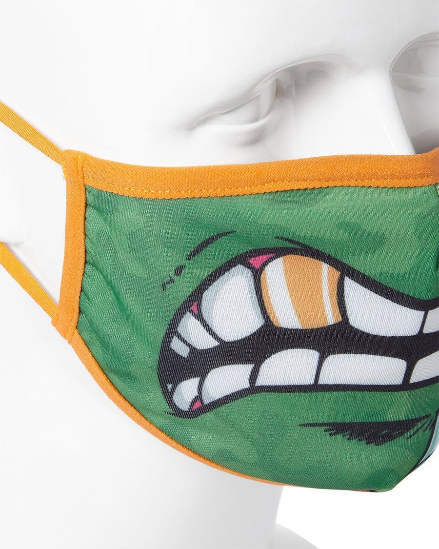 SPRAYGROUND- ADULT TMNT: MICHELANGELO SHARK FORM FITTING FACE-COVERING FASHION MASK