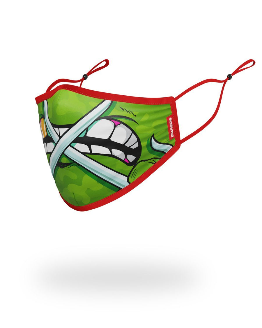 SPRAYGROUND- ADULT TMNT: RAPHAEL SHARK FORM FITTING FACE-COVERING FASHION MASK
