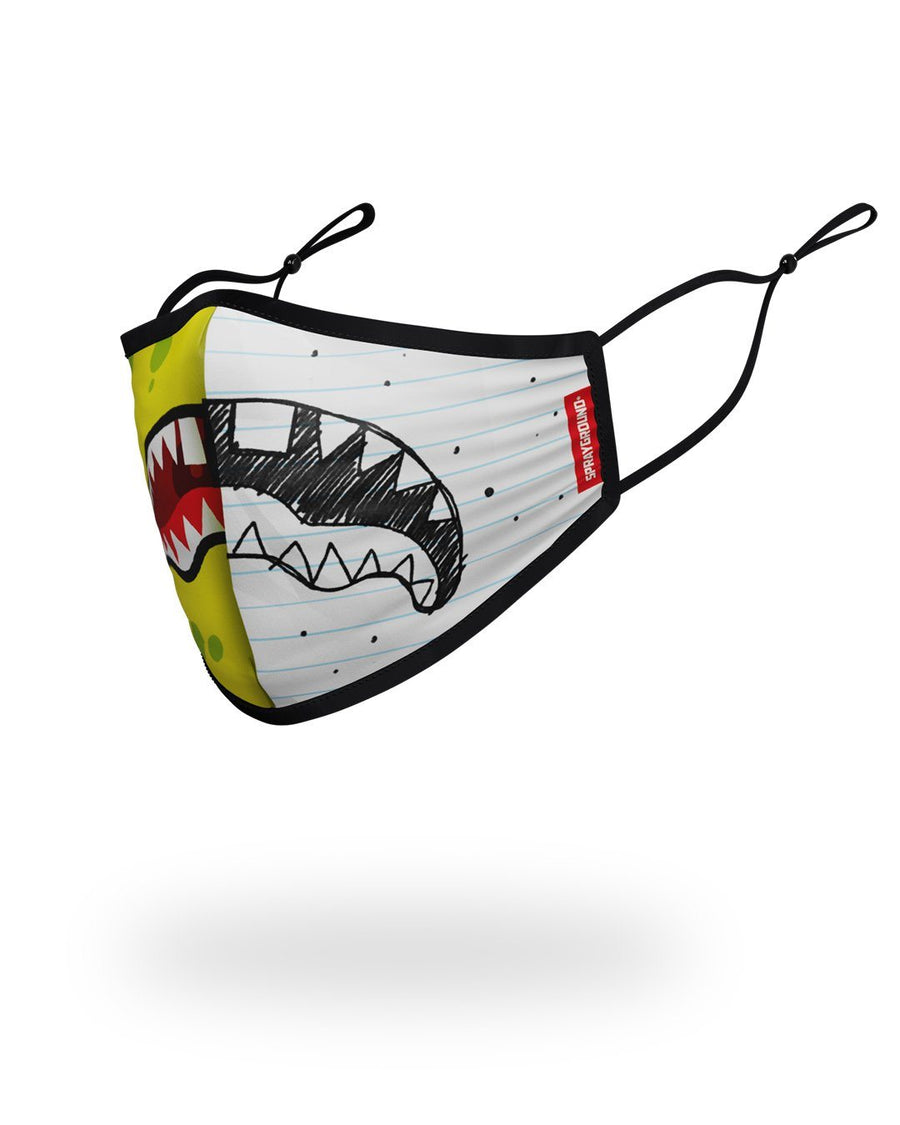 SPRAYGROUND- ADULT DOODLEBOB SPLIT SHARK FORM FITTING FACE-COVERING FASHION MASK