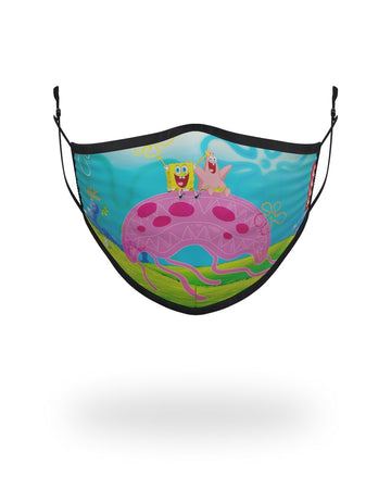 SPRAYGROUND- ADULT SPONGEBOB JELLY SHARK FORM FITTING FACE-COVERING FASHION MASK