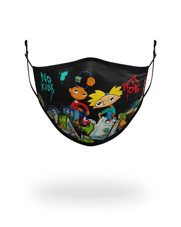 SPRAYGROUND- ADULT HEY ARNOLD MONEY STACKS FORM FITTING FACE-COVERING FASHION MASK
