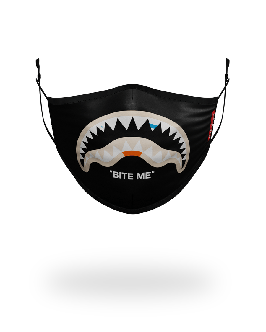BITE ME SHARK (BLK) POLYESTER FACE MASK