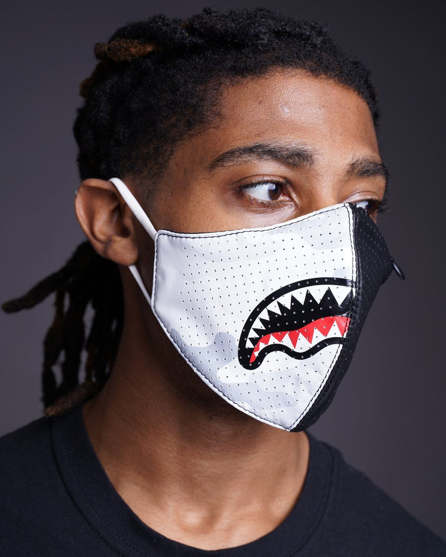 DAMAGE CONTROL ZIP POCKET VEGAN LEATHER FACE MASK