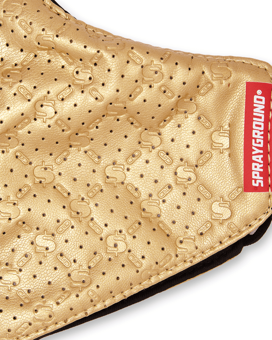 GOLD MONEYGRAM VEGAN LEATHER FACE MASK