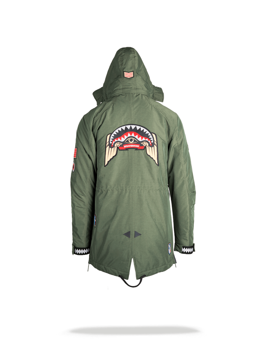 GREEN ARMY PATCHES LONG PARKA HOODY MENS (SIZE SMALL)