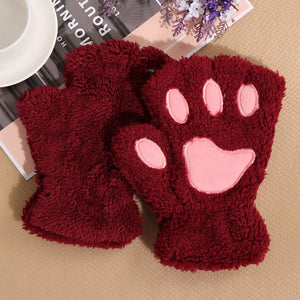 Plush Fluffy Bear Paw Claw Gloves