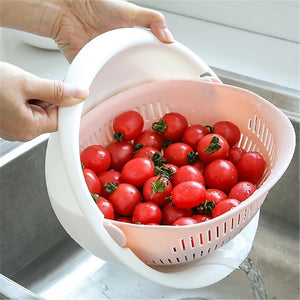 Multi-functional Drain Basket Plastic Double Layer Vegetable Washing Basket Portable Kitchen Fruit Basket Home Kitchen Storage