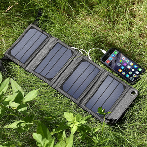 Portable Solar Power Charger 7W 5V 1A USB Mobile Power Bank For Phone
