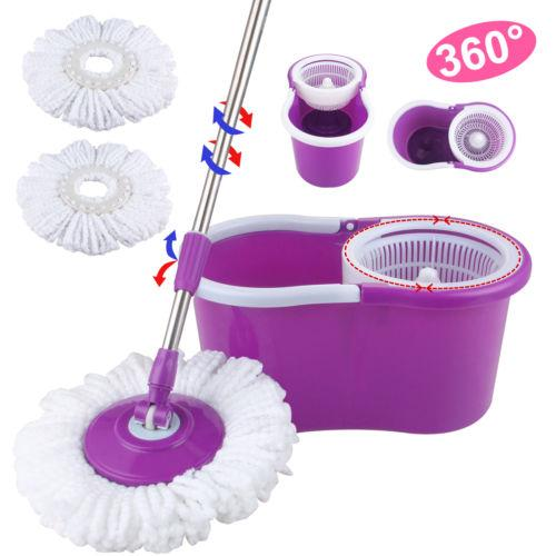 Microfiber Spinning Magic Spin Mop W/Bucket 2 Heads Rotating 360° Easy Floor Mop Washable Plastic Handle