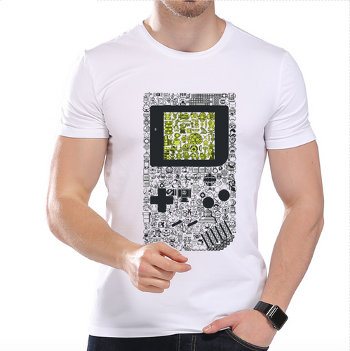 Men's Fashion Pixels Game Consoles Printed Designer T-Shirt