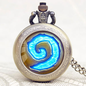 World of Warcraft Hearthstone Theme Glass Dome Case Quartz Pocket Watch With Chain Necklace