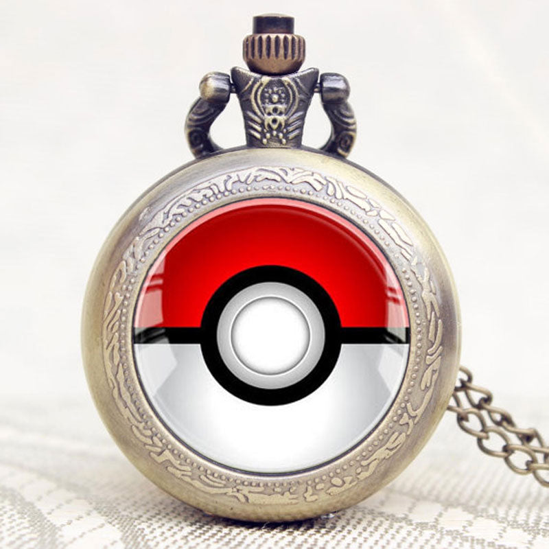 Poke Ball Theme Glass Dome Design Pocket Watch With Chain Necklace