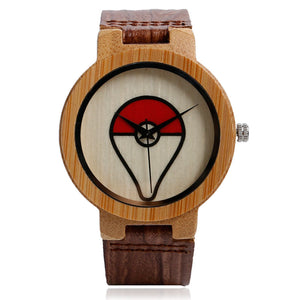 Pokeball Nature Wood Bambo Bangle Wristwatch