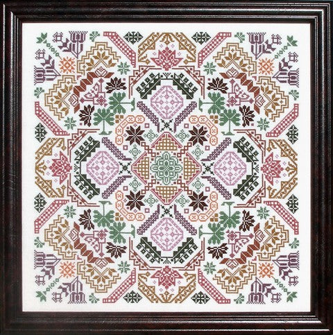 Quaker Geometric Puzzle 10/% Off Ink Circles Counted X-stitch Chart