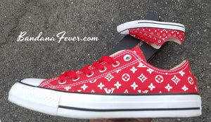 Customized Supreme LV Converse Sneakers
