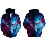 Fire And Ice Wolf Hoodie - Trippyverse