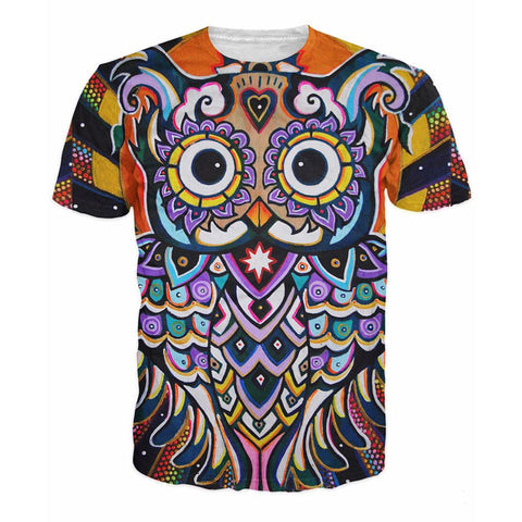 Psychedelic 3D Owl T-Shirt