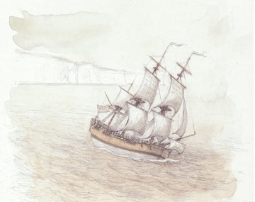 Giclée print - First Map 'Endeavour Leaves Dover'