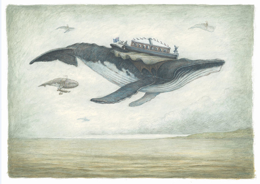3 Flying Whale Print Set