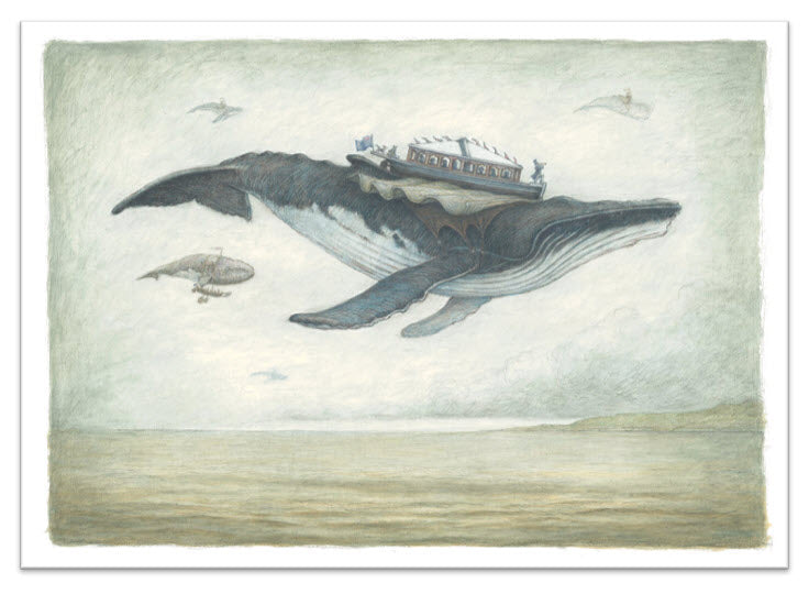 Card 1 - Flying Humpback Whale with Sea and Sky