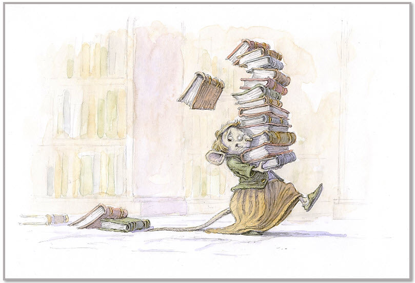 Print 1 - Girl mouse with books